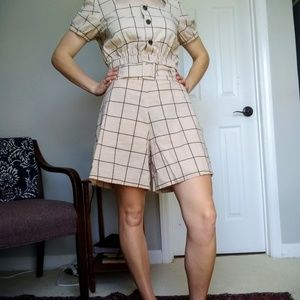 Vintage windowpane crop top and shorts set
